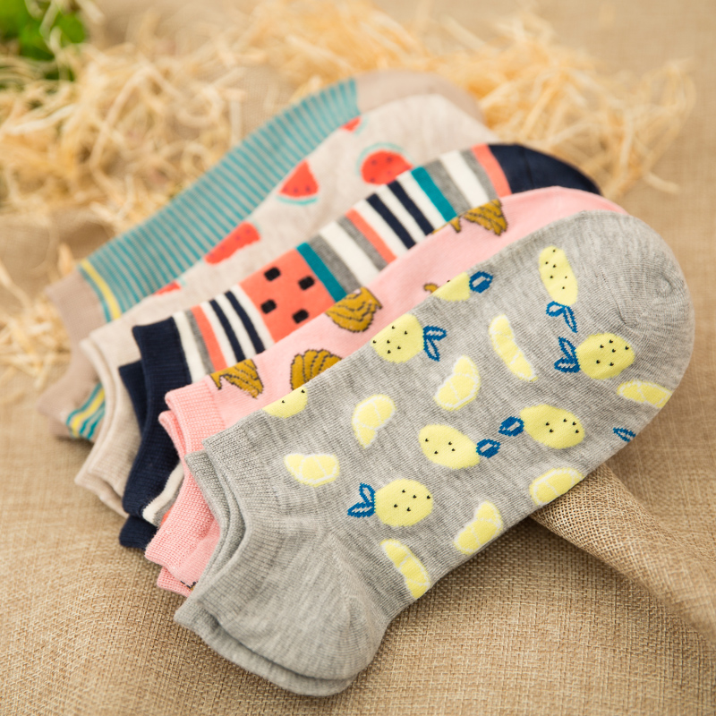 5 Pairs New summer women Ctue Fruits Banana Casual  ankle cotton socks boat sock slippers harajuku EUR35-40