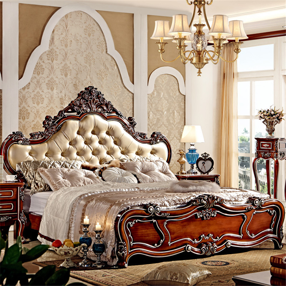 Wood Double Bed Designs With Classical Design-in Beds From