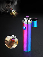 USB Cigarette Electric Cigarette Dual Double Flame Rechargeable Bow Windproof Pulse Cross Tube Cigarette Lighter Plasma