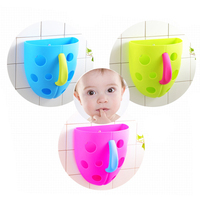 Hot Sale Security Kids Baby Bath Bathroom Plastic Toy Storage Bag Kids Sucker Hanging Bath Toy