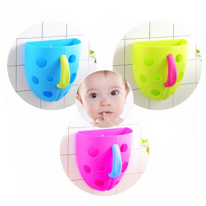 Hot Sale Security Kids Baby Bath Bathroom Plastic Toy Storage Bag Kids  Sucker Hanging Bath Toy