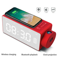LCD Bluetooth Speaker With Wireless Phone Charger Alarm Clock Desktop Smart Speaker TF Card FM Radio Speakers For IOS Android