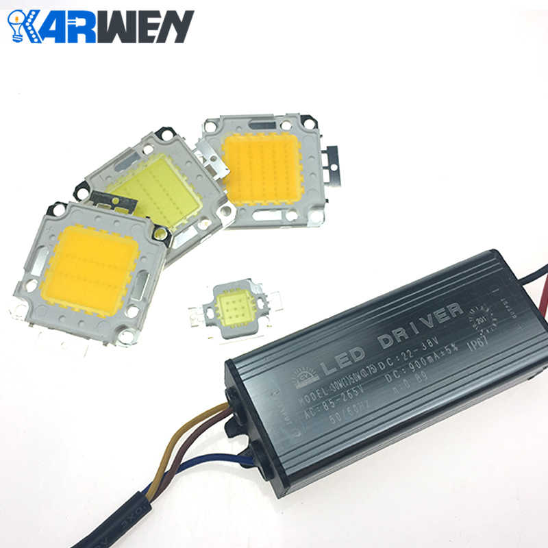 KARWEN 1Set LED  Real Watt 10W 20W 30W 50W LED Lamp Integrated with Transformer IP67 Led Driver DIY Floodlight Spotlight