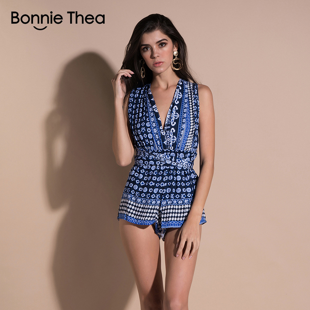 cbe1afbbce2a bonnie thea Women boho Print Casual Beach holiday Summer Playsuits Femme  Cotton blue sexy Short mini bandage Jumpsuits Rompers