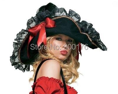 Envío libre 8073 espadachín sombrero para Halloween traje para las mujeres  encaje sombrero de pirata fb1c183b80a