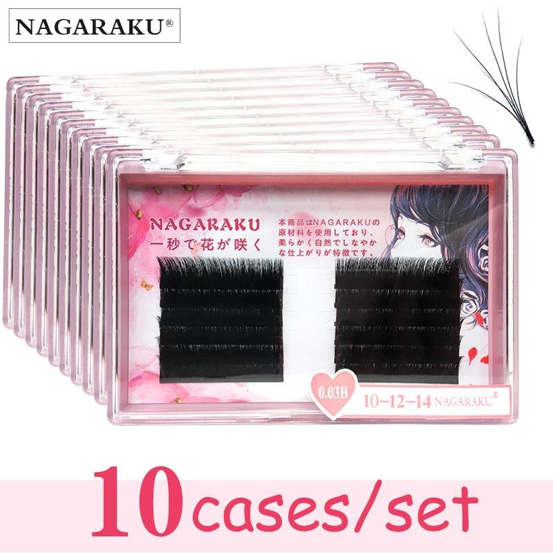 10 cas/set NAGARAKU Cils Extensions fans Auto cils Facile à ventilateur lash 0.03mm Mixte Longueur Vison Cils russe Volume