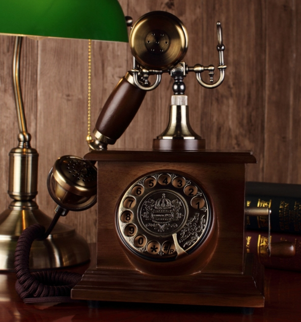 Fashion vintage old fashioned solid wood rustic home rotating disk phone