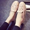 2017 nuevas mujeres del verano pescador zapatos retro hueco salvaje holgazanes perezosos zapatos de las mujeres pisos de la boca baja cómodos zapatos feminino