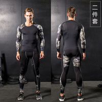 Men GYM Compression Fitness Sets Tee Top + Legging Workout Exercise Sport Yoga Beach Shirts Running Tights Tank Clothing E1