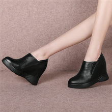 Купить с кэшбэком NAYIDUYUN    Casual Shoes Women Genuine Leather High Heel Ankle Boots Wedges Platform Party Pumps Round Toe  Punk Sneaker Shoes