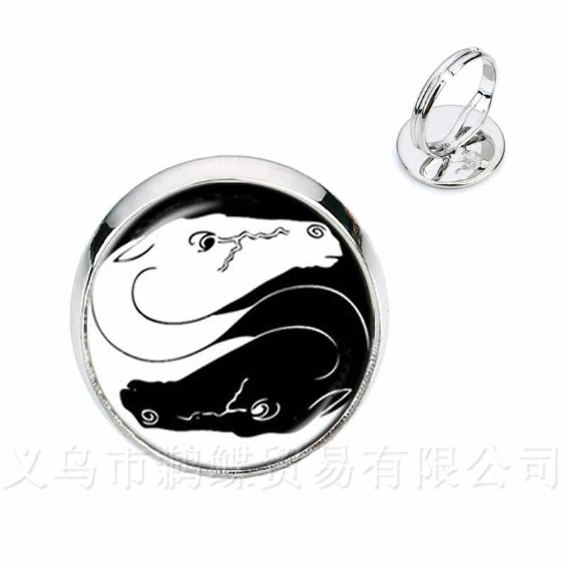 2 ม้า Yin Yang แก้วโดมแหวนสัญลักษณ์เครื่องประดับธรรมชาติ Rustic สไตล์คลาสสิกสัญลักษณ์ Harmony นำโชคดีเครื่องประดับ