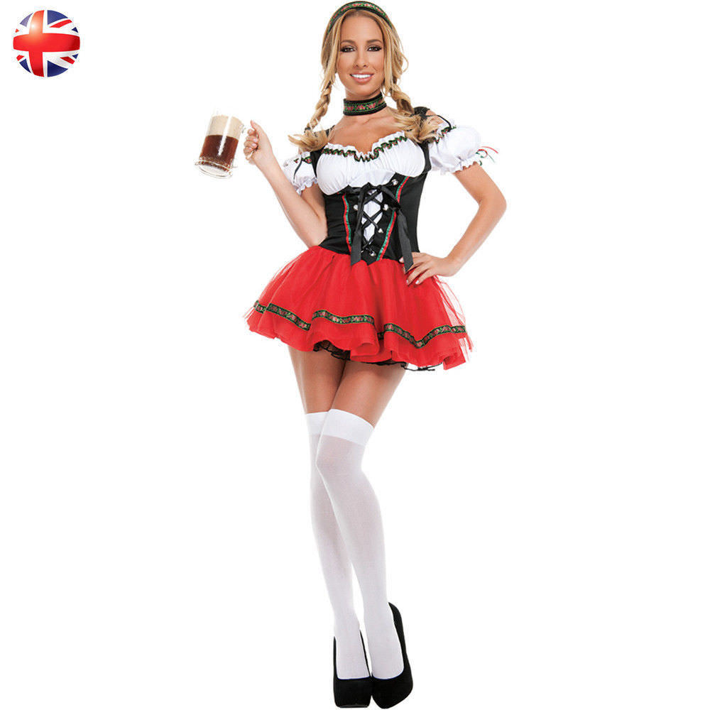 Oktoberfest Beer Girl Costume Bavarian German Women Fancy Dress Size S-XXL Adult Halloween Party Outfit Dress