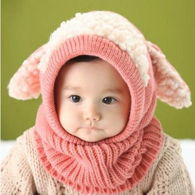 bfe49a87606 Siamese Puppy Scarf Winter New Baby Hat Wool Hat Winter Hat Hot Sale Beanie  Hat Hooded Scarf Earflap Knit Cap Toddler Cute