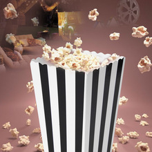 12 stk. Papir Popcorn Bokse Stribet Design Multi Farve Karton Chips Fry Kylling Candy Sanck Tasker Movie Party Supply