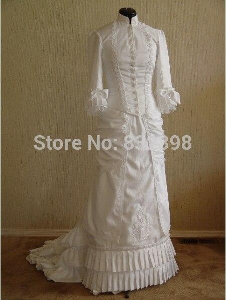 Natural Satin-Parole longueur robe de Bal Robe de Style Victorien Agitation Robe
