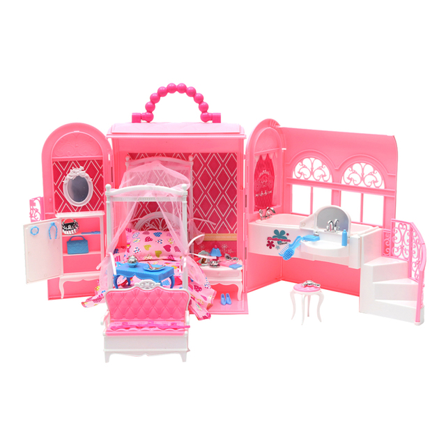 Plastic Diy Bedroom In Handbag Carry A Home Play Set For Barbie Doll S House Toy Kids Pretend Toys Gifts