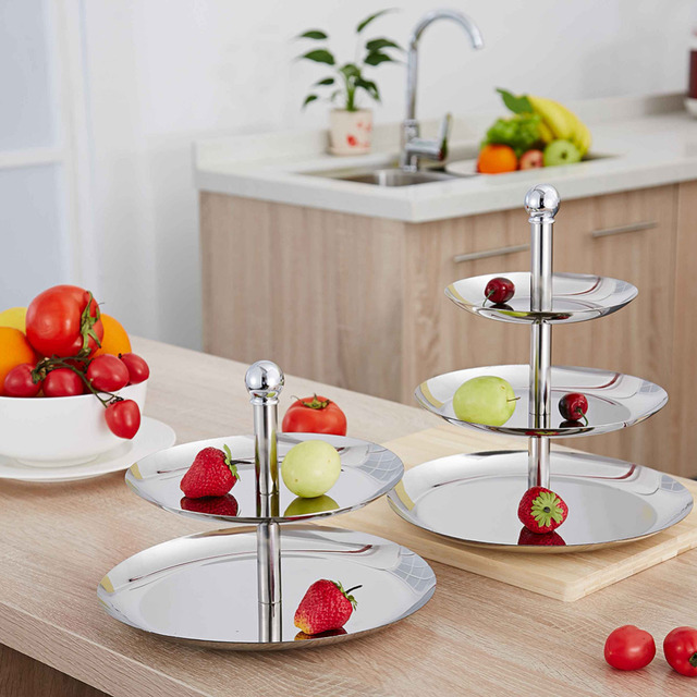 Stainless Steel Fruit Plates Stand Pastry Tray Candy Dishes Cake Desserts 2 Tier 3 Layer New & Stainless Steel Fruit Plates Stand Pastry Tray Candy Dishes Cake ...