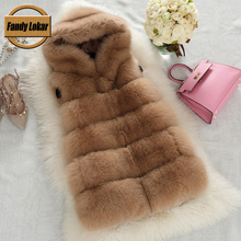 New Arrival Real Fox Fur Vest Women Winter Slims Medium Long Genuine Natural Fox Fur Vests Female Fur Coat Jacket 2015 Fashion