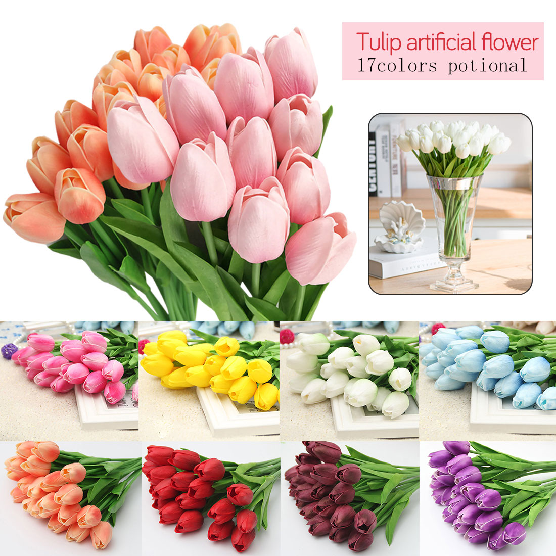 Decora 10Pcs//Bag PU Holland Mini Tulip Artificial Flower Real Touch for Wedding,Room,Home,Hotel,Party Decoration and Valentines Day Gift Dark Plum