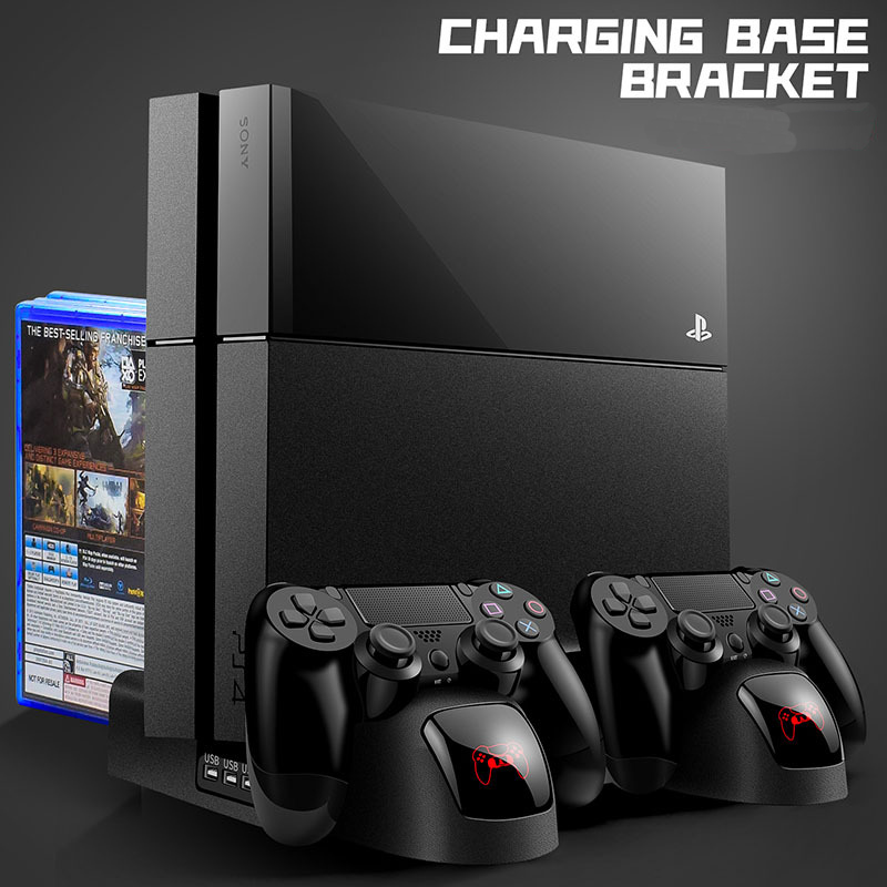 New Charger PS4/PS4 Slim/ PS4 Pro Dual Controller Charger Console Vertical Cooling Stand Charging Station Playstation 4 image