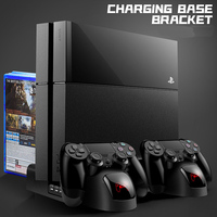 New Charger PS4/PS4 Slim/ PS4 Pro Dual Controller Charger Console Vertical Cooling Stand Charging Station Playstation 4