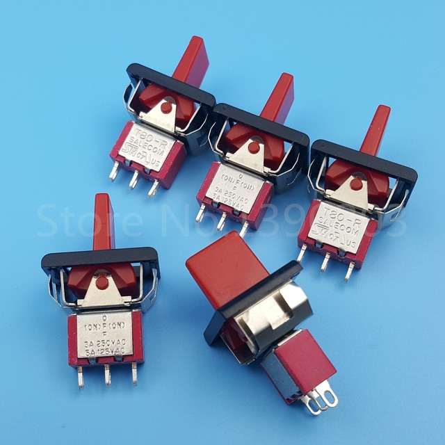 5Pcs T80 R Momentary (ON) OFF (ON) 3Pin 3Position SPDT Mini Red ...