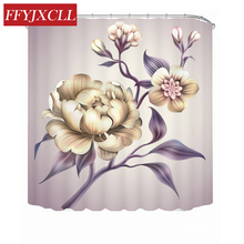 Pastoral Creative Peony Flower Polyester Waterproof Fabric Shower Curtain Bath Home Bathroom Curtain With 12 Hook