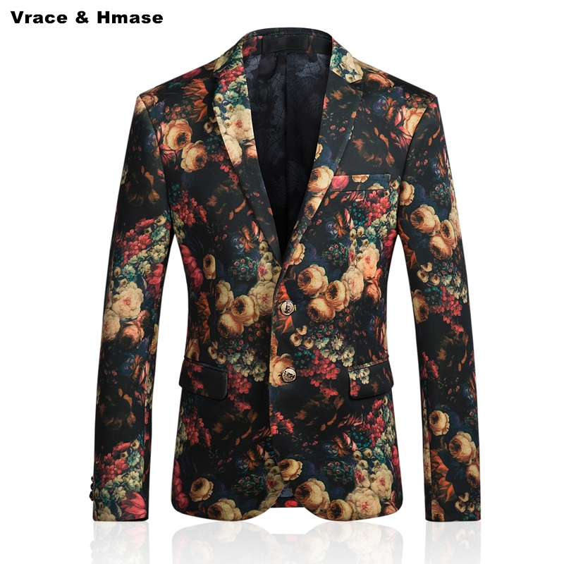 Exquisite 3D roses pattern personalized printing fashion casual blazer masculino Autumn&Winter 2017 New quality blazer men M-5XL