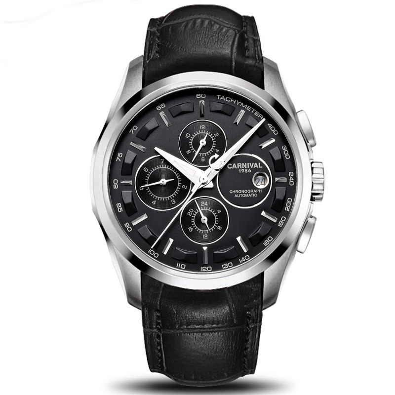 Classic Carnival Mechanical Watch Men Multifunctional Water Resistant Vintage Leather Strap Men'S Business Clock Hot