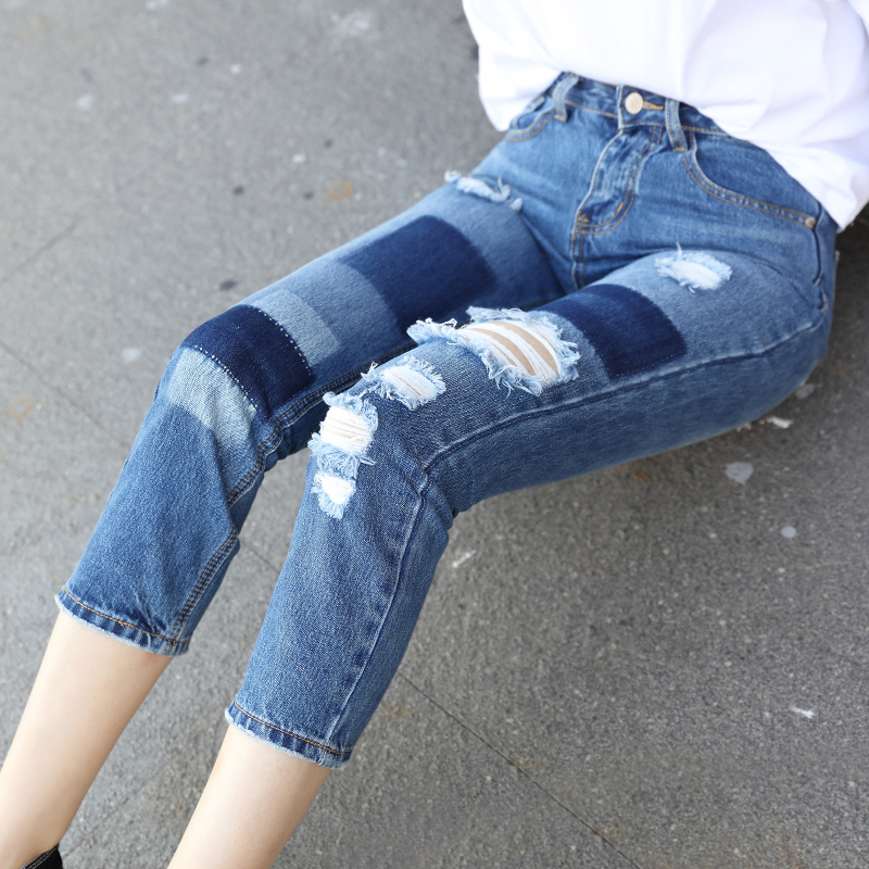 2017 New jeans Hole woman Ripped jeans for women Skinny Pencil Pants fashion High waist feminina Calf-Length Patchwork Washed 2016 new fashion high waist big hole ripped jeans for women slim pencil pants full length black clp052