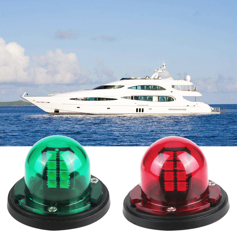 1 Pair Marine Boat Yacht LED Bow Navigation Light Stainless Steel 12V  Red Green Sailing Signal Light