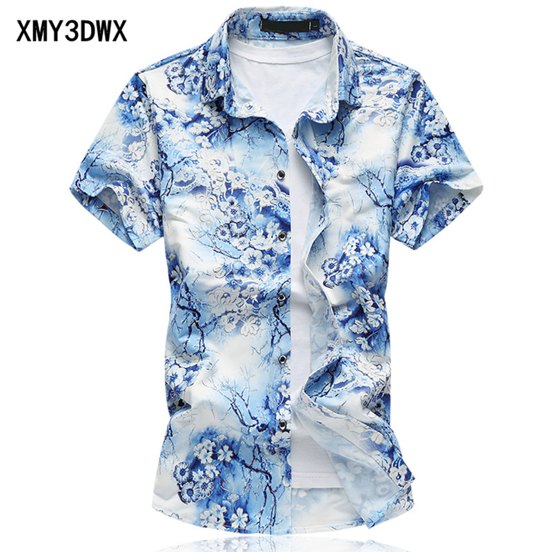 Cotton short sleeve slim fashion shirt men 2017 summer new stretch Slim printing flower lapel big size shirt mens size 6XL 7XL ...