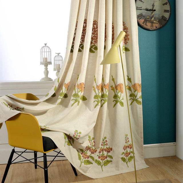 Curtains For Living Dining Room Bedroom Spring Garden Cotton Embroidery Curtain Fabric Blinds