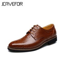 Alligator Crocodile Style Men's Dress/Business Shoes,Italian Luxury Brown Leather Party Social Shoe,New Design Fashion(China)