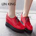 LIN KING New Women Casual Shoes Round Toe Retro Rivers PU Flat Shoes Breathable Solid Walking Plus Size Thick Sole Leisure Shoes
