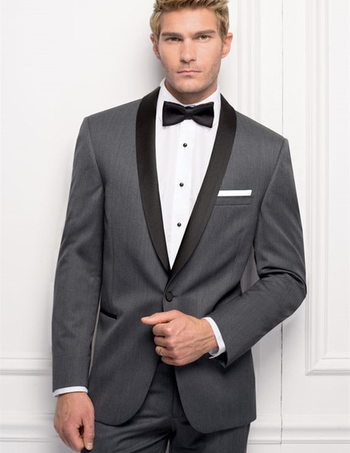 Custom Made Men Suits Slim Fit Groom Tuxedos Dark Gray Wedding Suit ...
