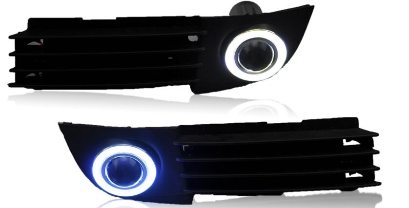 eOsuns COB angel eye led daytime running light DRL + halogen Fog Light + Projector Lens for audi A6 C5 2003 2004 led daytime running lights for mazda6 atenza 2013 2014 2015 2016 led angel eye led drl halogen h11 55w fog light