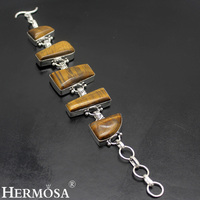 Hermosa Jewelry Exclusive design beautiful natural tiger eye 925 sterling silver fashion delicate bracelet 7.75'' HF1370