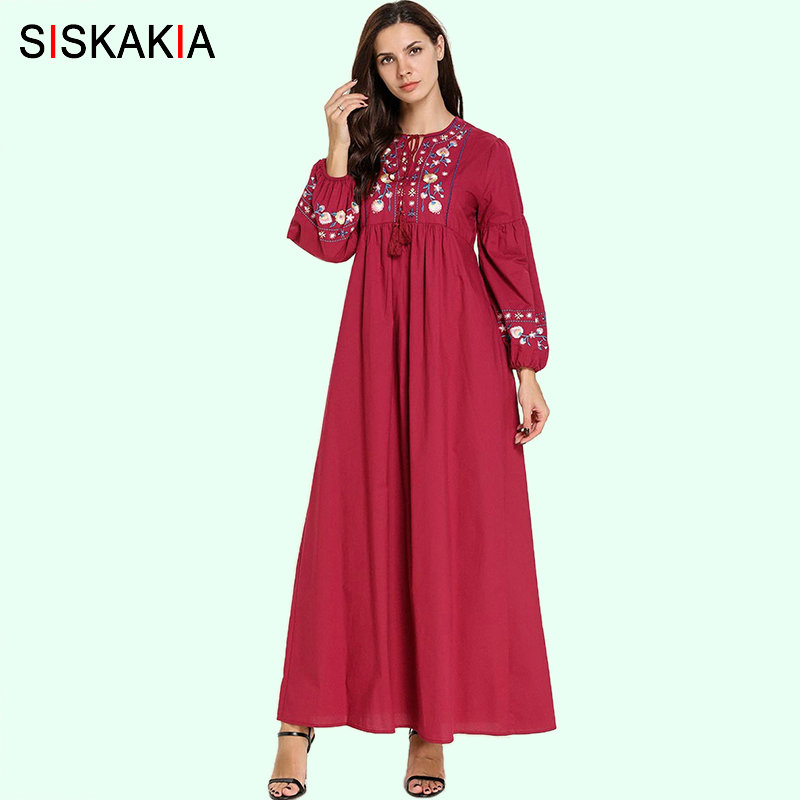 Siskakia Floral Embroidery A Line Long Dress Ethnic Tassel Drawstring Design Maxi Dresses Red Empire Draped Swing Lantern Sleeve