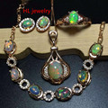 Christmas Gifts 925 Sterling Silver Jewelry Earrings/Rings For Women African Natual Fire Opal Statement Necklace Jewelry Sets
