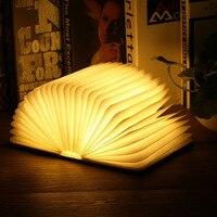 Innovative 5V 1000mA USB Rechargeable LED Foldable Wooden Reading Book Shape Desk Lamp Nightlight Home Decoration
