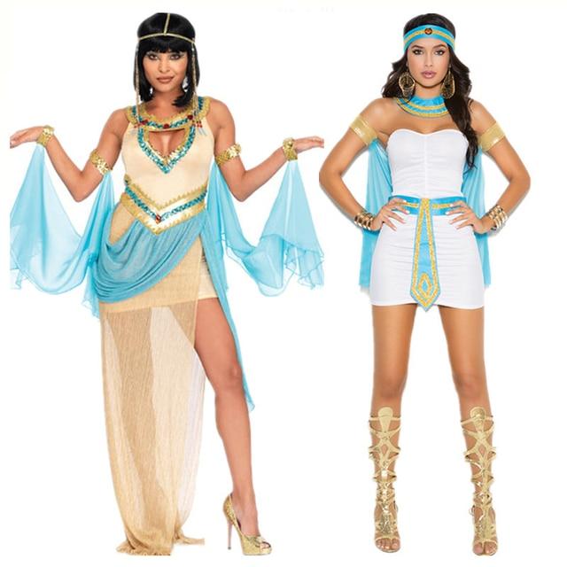 Ladies White Greek Goddess Costume Women Sexy Arabic Prince Fancy Dress Female Egyptian Costume for Halloween Party Dress
