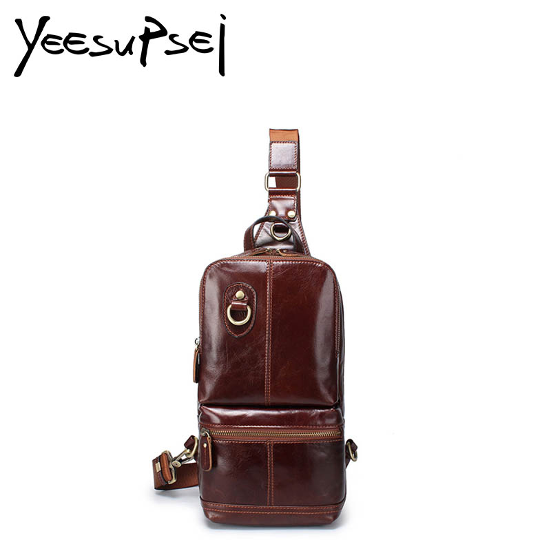 YeeSupSei Men Chest Pack Single Small Shoulder Strap Back Sling Bags Genuine Leather Travel Men Crossbody Bags Vintage Chest Bag