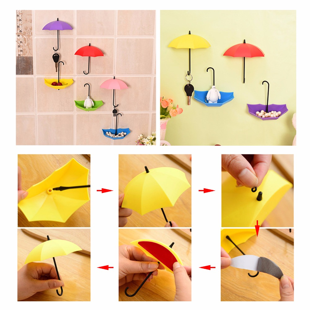 3pcs/lot Umbrella Shaped Creative Key Hanger Rack Decorative Holder ...