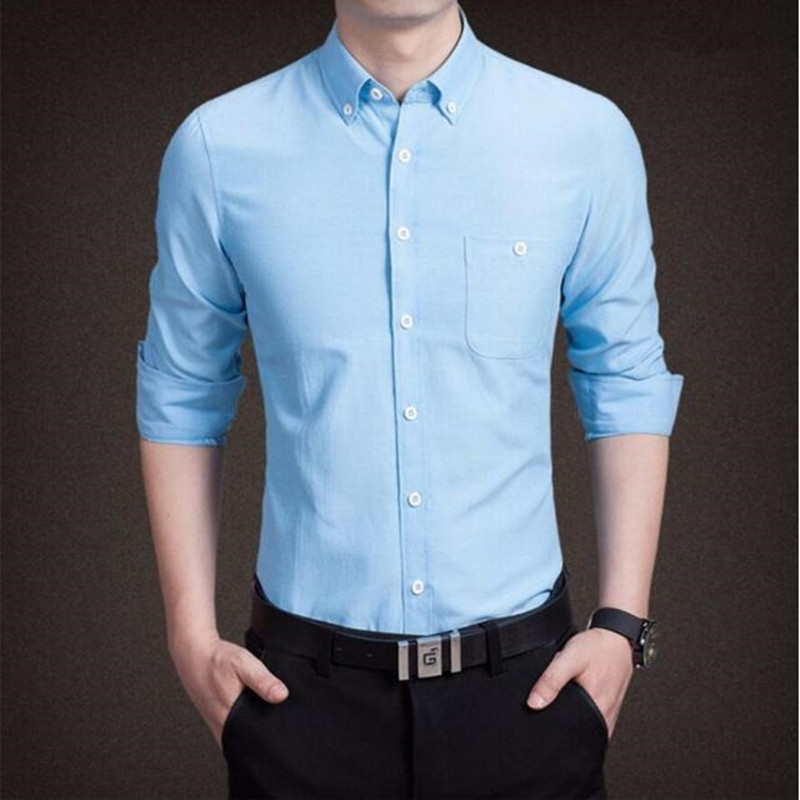 custom men shirts casual work shirts long sleeve solid men dress shirt slim fit men tops
