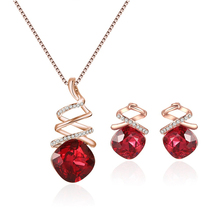New classic fashion ladies necklace set color optional earrings pendant simple retro jewelry