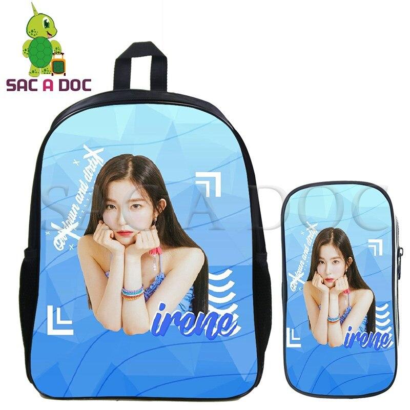 2 Pcs/set Red Velvet School Bag Laptop Backpack for Teenage Boys Girls Irene Wendy Kpop Daily Backpack Travel Shoulder Bags2 Pcs/set Red Velvet School Bag Laptop Backpack for Teenage Boys Girls Irene Wendy Kpop Daily Backpack Travel Shoulder Bags