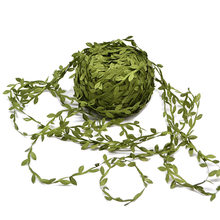 10 Meter Silk Leaf-Shaped Handmake Artificial green Leaves For Wedding Decoration DIY Wreath Gift Scrapbooking Craft Fake Flower(China)