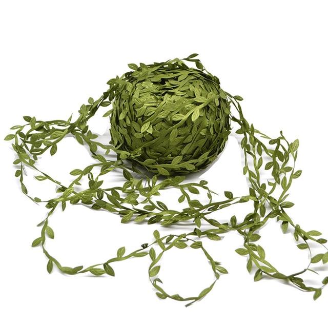 10 metros de seda en forma de hoja hecho a mano hojas verdes artificiales para la decoración de la boda DIY corona regalo Scrapbooking artesanía flor falsa