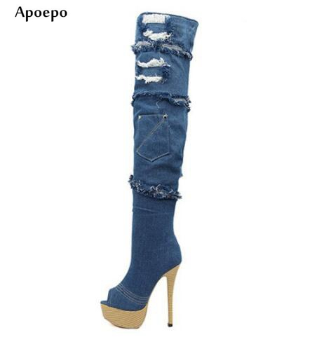 цена на Apoepo Newest Peep Toe Denim Blue Boots 2018 Fashion Ripped Jeans Boots Sexy Platform High Heel Long Boots Over the Knee boots